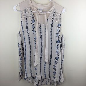 Knox Rose Embroidered Sleeveless Top Tie Collar L